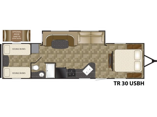 Trail Runner Travel Trailer Model 30USBH by Heartland Floorplan