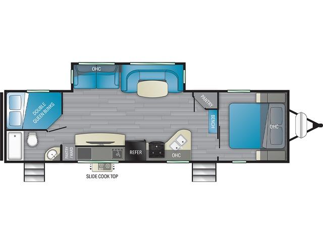 North Trail Travel Trailer Model 31BHDD by Heartland Floorplan