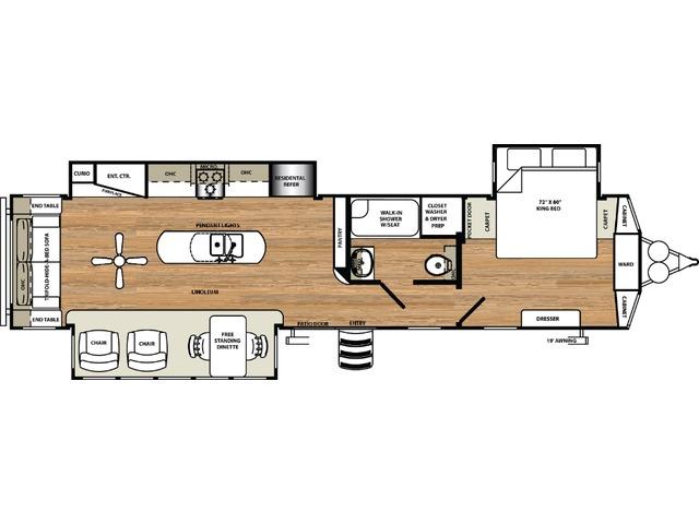 Sierra Park Trailer Model 393RL by Forest River Floorplan
