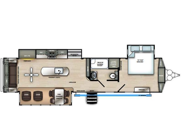 Sierra Park Trailer Model 393RL by Forest River Floorplan