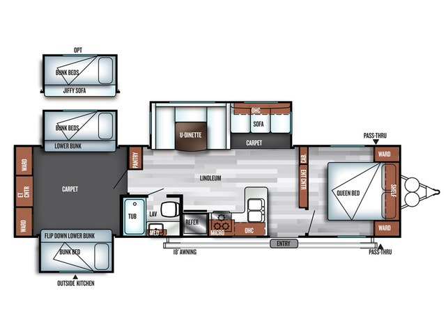 Salem Travel Trailer Model 31KQBTS by Forest River Floorplan