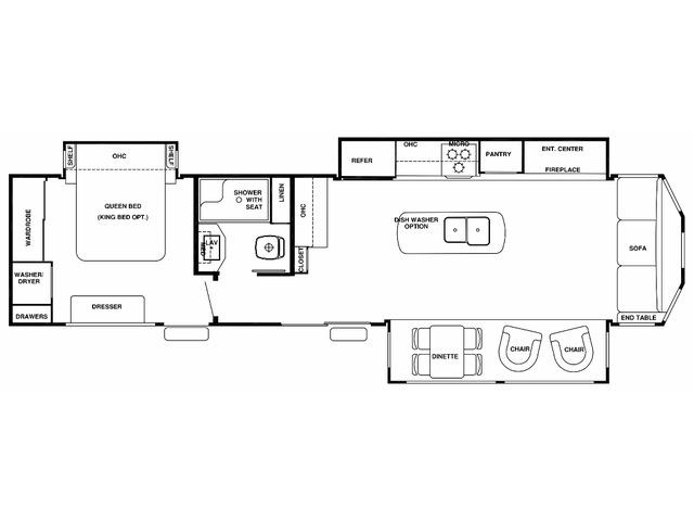 Cottage Park Trailer Model 40CCK by Forest River Floorplan