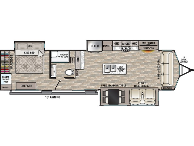 Cottage Park Trailer Model 40CCK by Forest River Floorplan