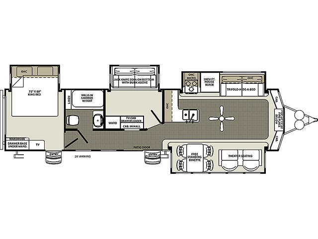 Sierra Park Trailer Model 385FKBH by Forest River Floorplan