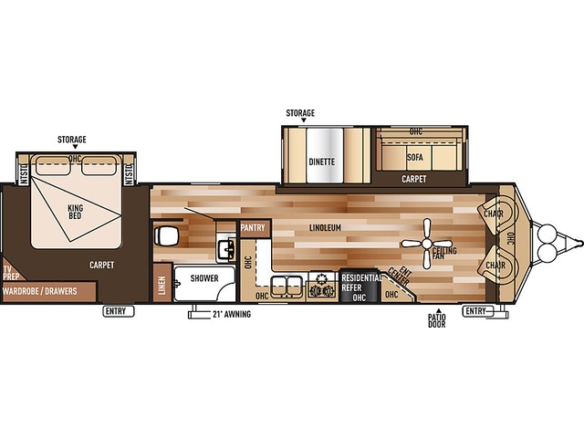 Salem Villa Classic Park Trailer Model 353FLFB by Forest River Floorplan