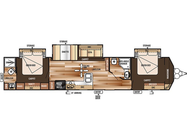 Salem Villa Classic Park Trailer Model 4002Q by Forest River Floorplan