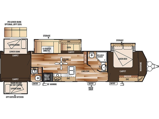 Salem Villa Classic Park Trailer Model 402QBQ by Forest River Floorplan
