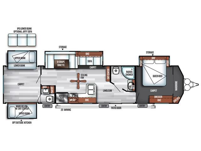 Salem Villa Classic Park Trailer Model 402QBQ by Forest River Floorplan