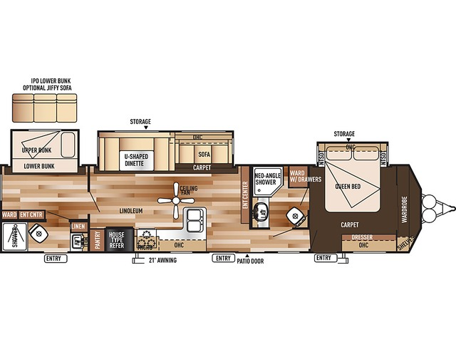 Salem Villa Classic Park Trailer Model 426-2B by Forest River Floorplan