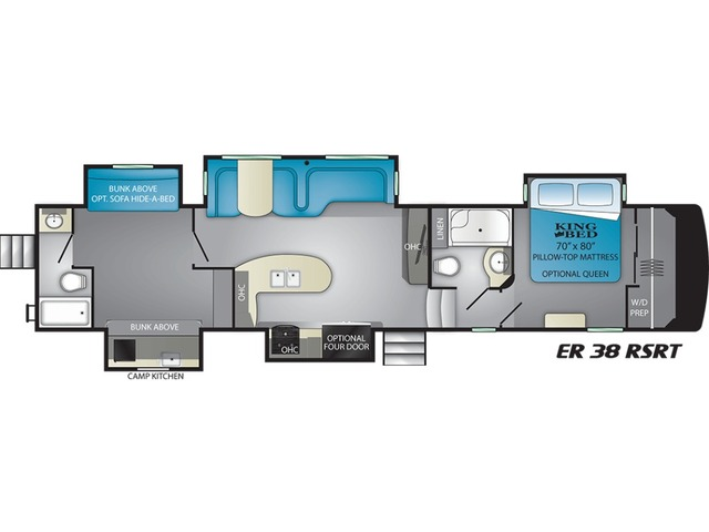 Elkridge Fifth Wheel Model 38RSRT by Heartland Floorplan