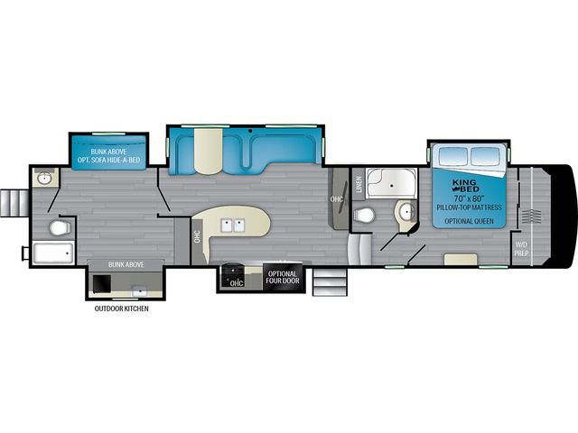 Elkridge Fifth Wheel Model 38RSRT by Heartland Floorplan