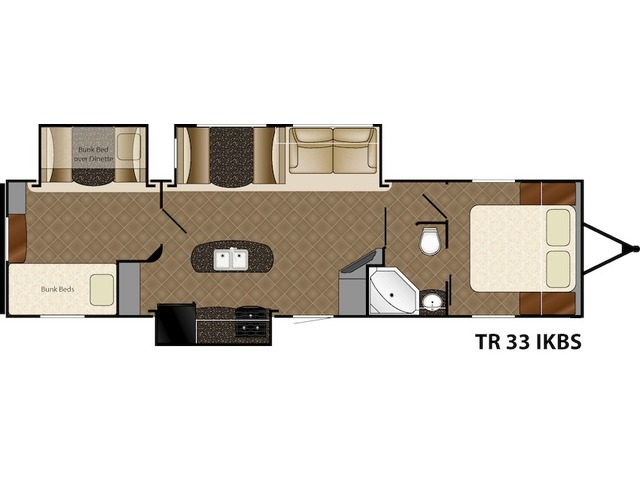 Trail Runner Travel Trailer Model 33IKBS by Heartland Floorplan