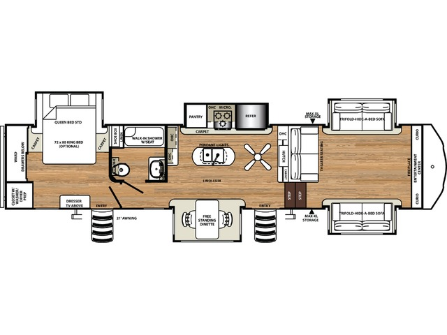 Sierra Fifth Wheel Model 377FLIK by Forest River Floorplan