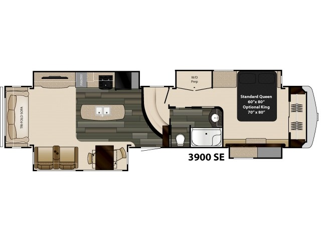 Gateway Fifth Wheel Model 3900SE by Heartland Floorplan