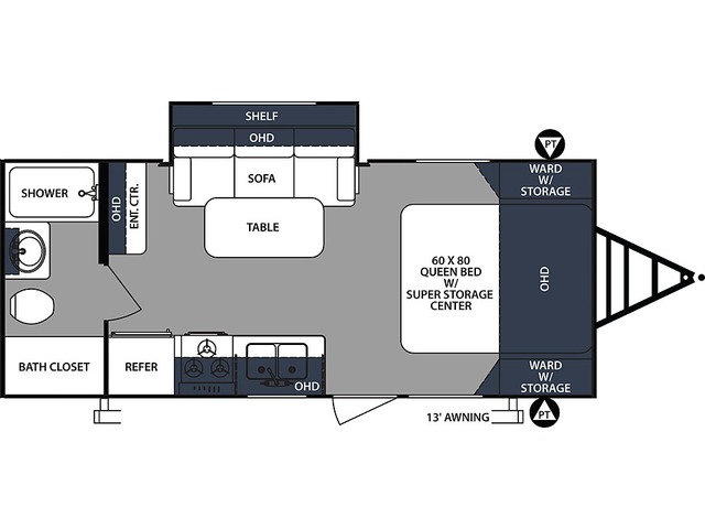 Surveyor Travel Trailer Model 201RBS by Forest River Floorplan