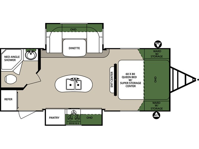 Surveyor Travel Trailer Model 226RBDS by Forest River Floorplan