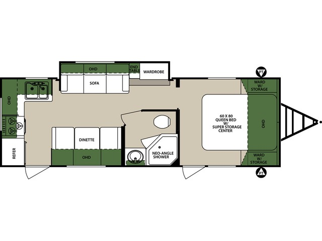 Surveyor Travel Trailer Model 264RKS by Forest River Floorplan