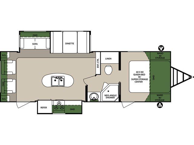 Surveyor Travel Trailer Model 265RLDS by Forest River Floorplan