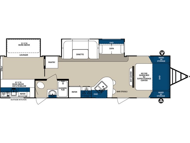 Surveyor Travel Trailer Model 32BHDS by Forest River Floorplan