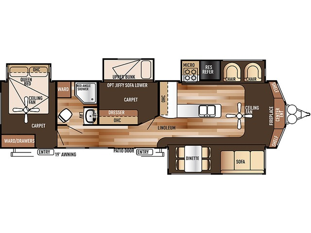 Salem Villa Estate Park Trailer Model 385FLBH by Forest River Floorplan