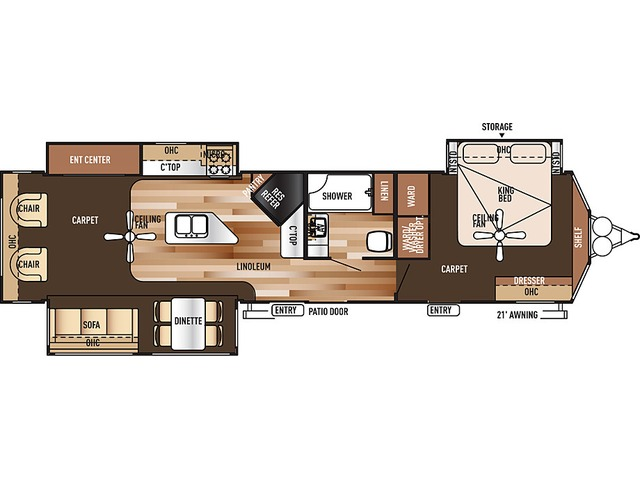 Salem Villa Estate Park Trailer Model 393RLT by Forest River Floorplan