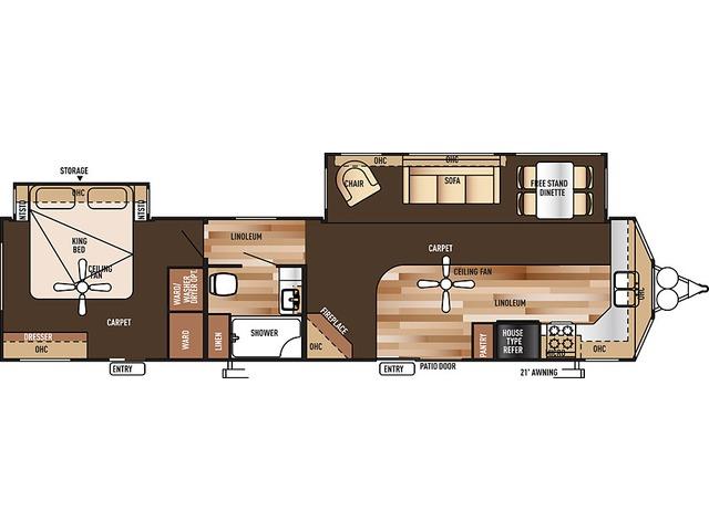 Salem Villa Estate Park Trailer Model 394FKDS by Forest River Floorplan