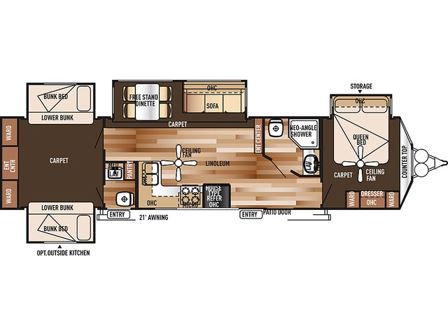 Salem Villa Estate Park Trailer Model 404X4 by Forest River Floorplan