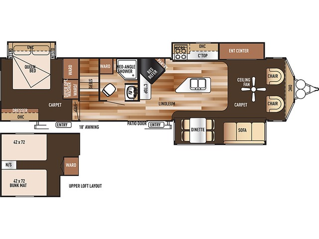 Salem Villa Estate Park Trailer Model 4092BFL by Forest River Floorplan