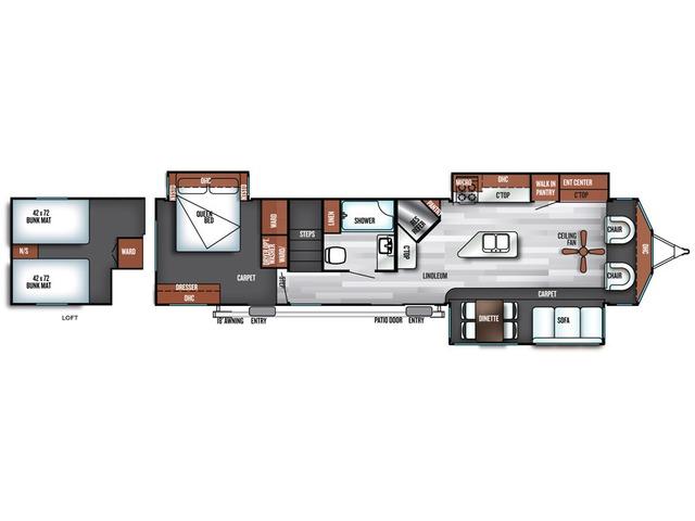 Salem Villa Estate Park Trailer Model 4092BFL by Forest River Floorplan