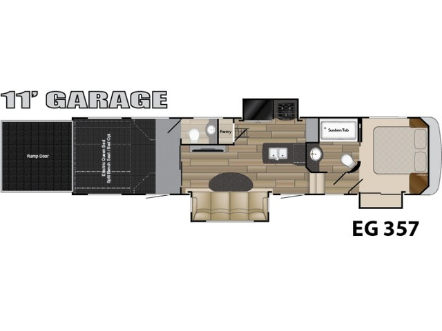 Edge Toy Hauler (Fifth Wheel) Model ED 357 by Heartland Floorplan