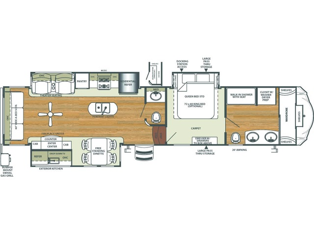 Sierra Fifth Wheel Model 378FB by Forest River Floorplan