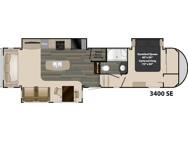 Gateway Fifth Wheel Model 3400SE by Heartland Floorplan
