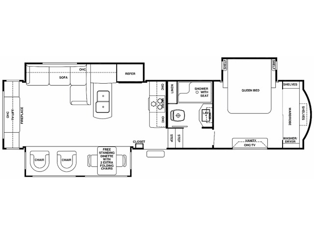 Cedar Creek Fifth Wheel Model 34RE by Forest River Floorplan