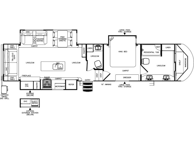 Hemisphere Fifth Wheel Model 386FBK by Forest River Floorplan