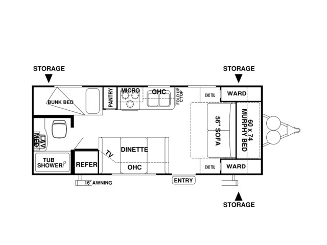 Cruise Lite Travel Trailer Model 201BH by Forest River Floorplan
