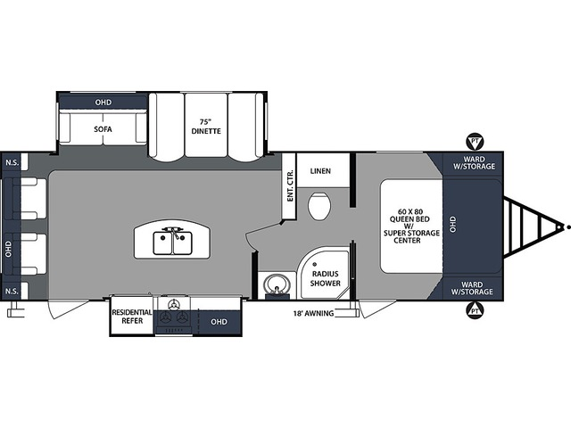 Surveyor Luxury Travel Trailer Model 266RLDS by Forest River Floorplan