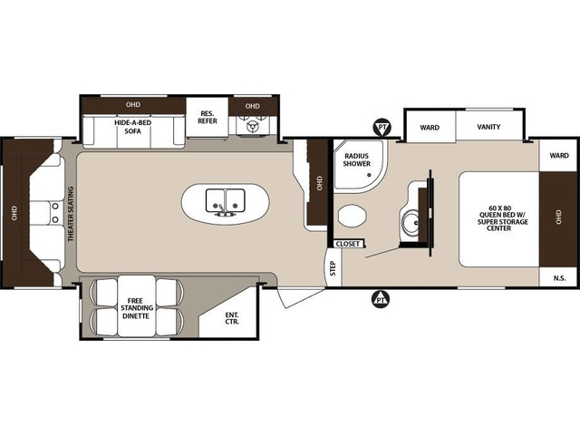 Surveyor Fifth Wheel Model 294RLTS by Forest River Floorplan