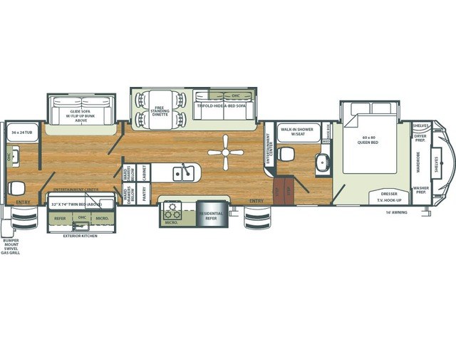 Sierra Fifth Wheel Model 381RBOK by Forest River Floorplan