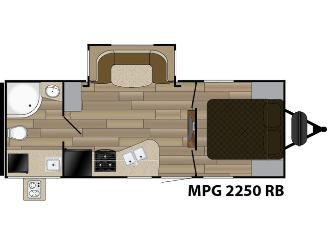MPG Travel Trailer Model 2250RB by Cruiser RV Floorplan