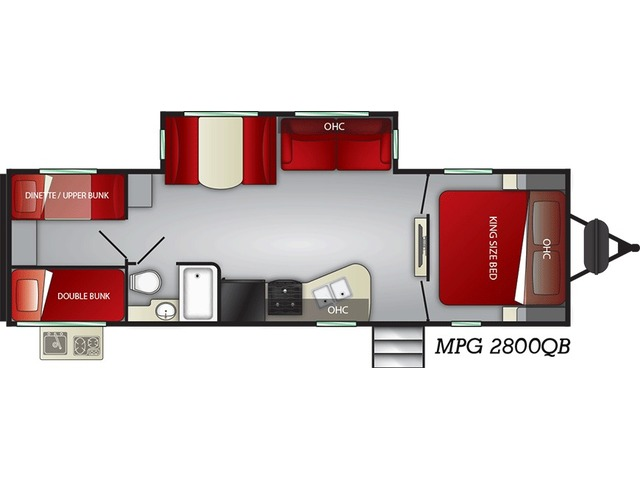 MPG Travel Trailer Model 2800QB by Cruiser RV Floorplan