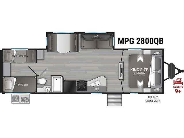 MPG Travel Trailer Model 2800QB by Cruiser RV Floorplan