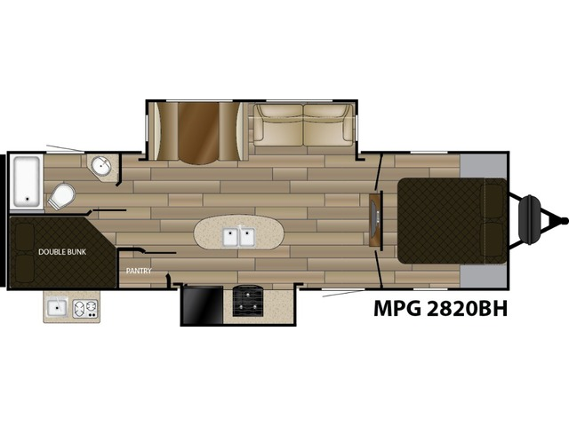 MPG Travel Trailer Model 2820BH by Cruiser RV Floorplan
