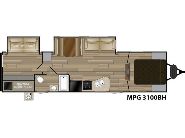 MPG Travel Trailer Model 3100BH by Cruiser RV Floorplan