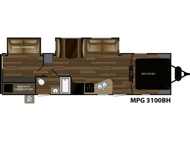 MPG Travel Trailer Model 3100BH by Cruiser RV Floorplan