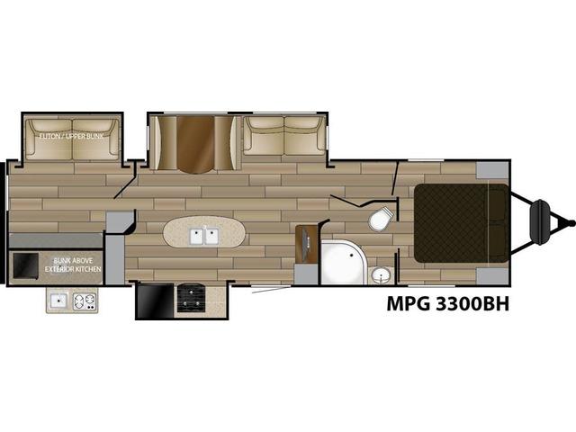 MPG Travel Trailer Model 3300BH by Cruiser RV Floorplan