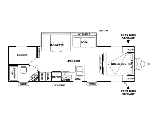 Cruise Lite Travel Trailer Model 263BH by Forest River Floorplan