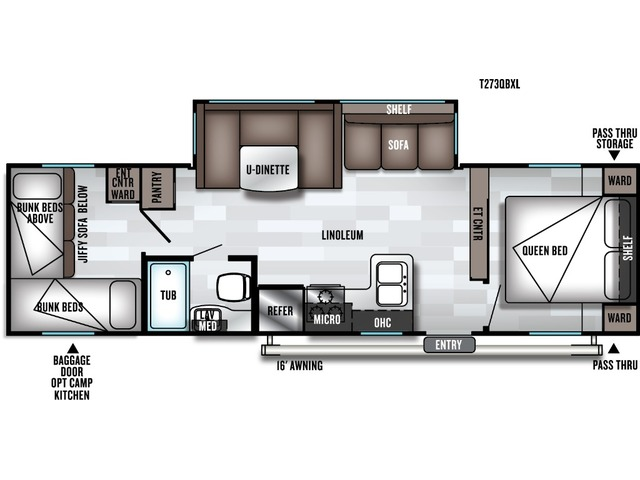 Cruise Lite Travel Trailer Model 273QB by Forest River Floorplan
