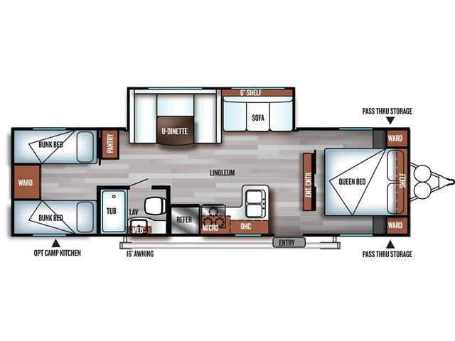 Cruise Lite Travel Trailer Model 282QB by Forest River Floorplan