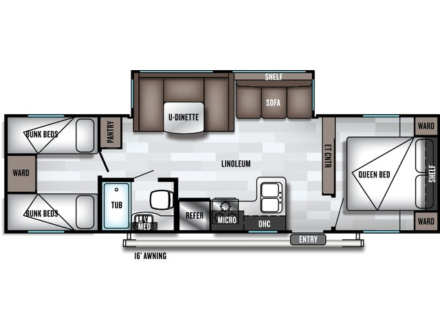 Cruise Lite Travel Trailer Model 282QB by Forest River Floorplan