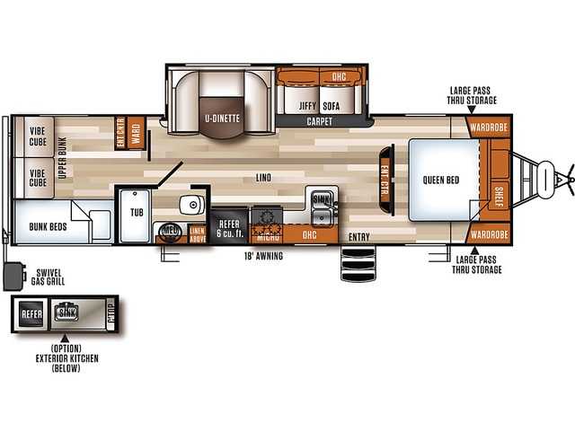Vibe Extreme Lite Travel Trailer Model 287QBS by Forest River Floorplan